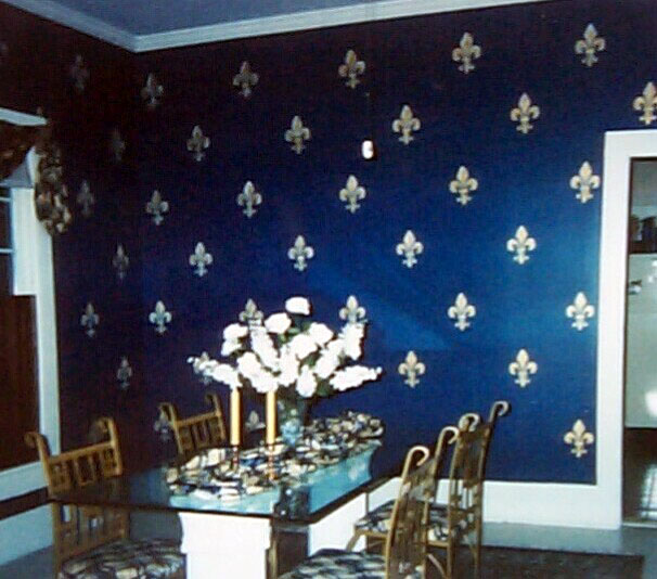 Gathering for Dinner Around a CustomStenciled Dining Room